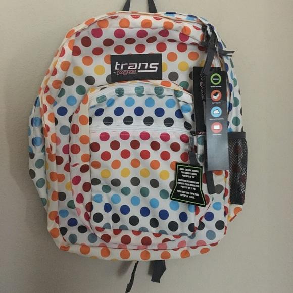 Trans by Jansport Multi Rainbow Polka Dot Backpack NWT